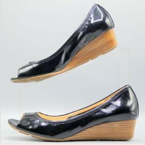 COLE HAAN I Air Tali Black Patent Peep Toe Wedges